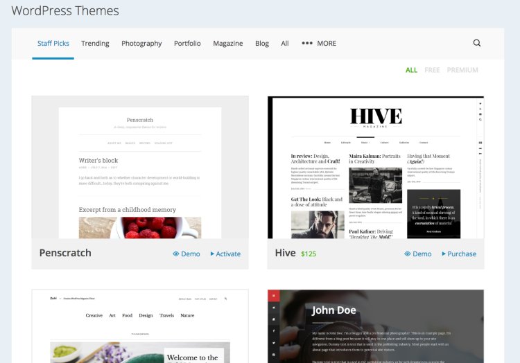 Visit WordPress.com Themes to see their selection