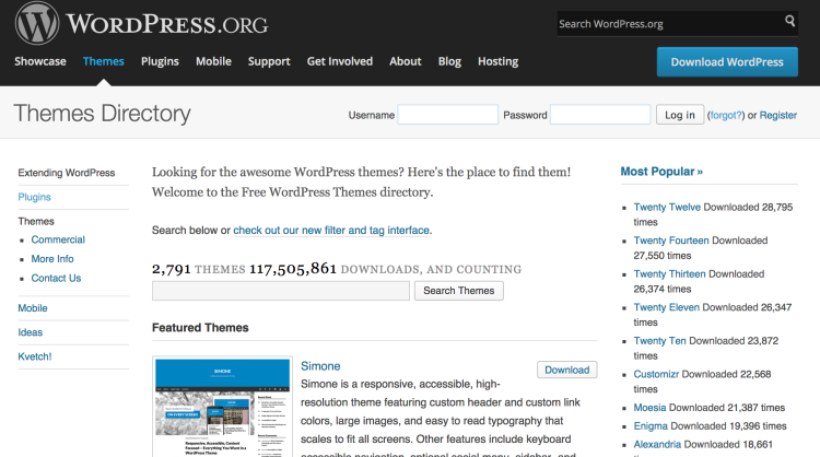 WordPress.org has a free theme repository full of thousands of themes that are code checked by volunteers